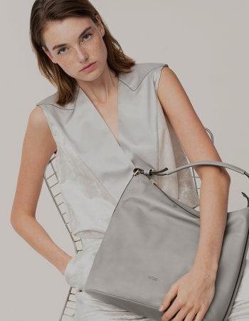 BREE Stockholm 5 belgian block leather shoulder bag δέρμα τσάντα ώμου γκρι ανοιχτό 2019
