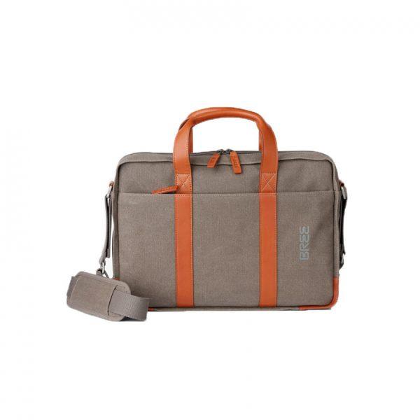BREE Punch Casual 718 grey / cognac business bag canvas - leather επαγγελματική τσάντα ύφασμα - δέρμα γκρι - ταμπά 1970