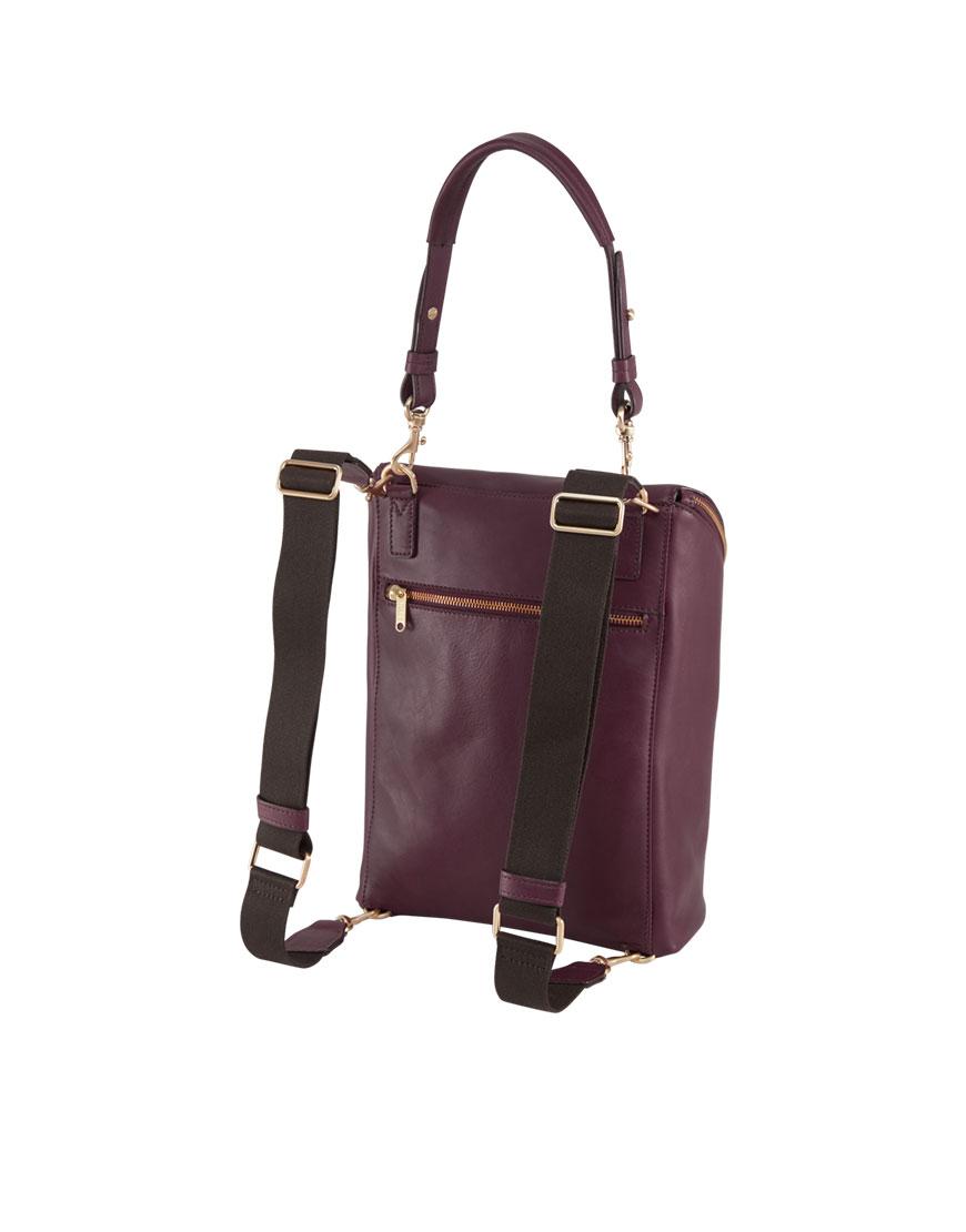 BREE Stockholm 40 mauve wine leather backpack and shoulder bag δέρμα τσάντα ώμου και σακίδιο πλάτης μπορντώ κόκκινο σκούρο 2019 - 2020