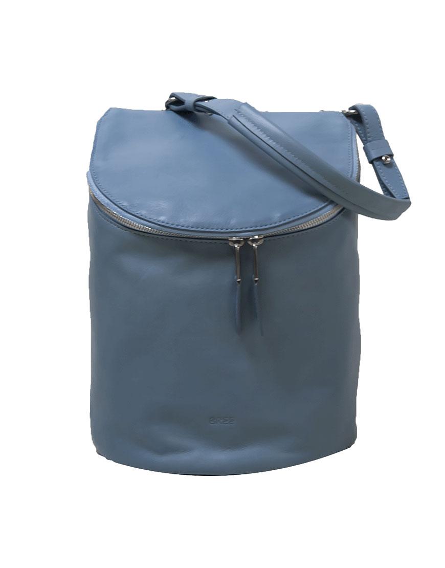 BREE Stockholm 40 provincial blue leather backpack and shoulder bag δέρμα τσάντα ώμου και σακίδιο πλάτης μπλε - γκρι 2019 - 2020