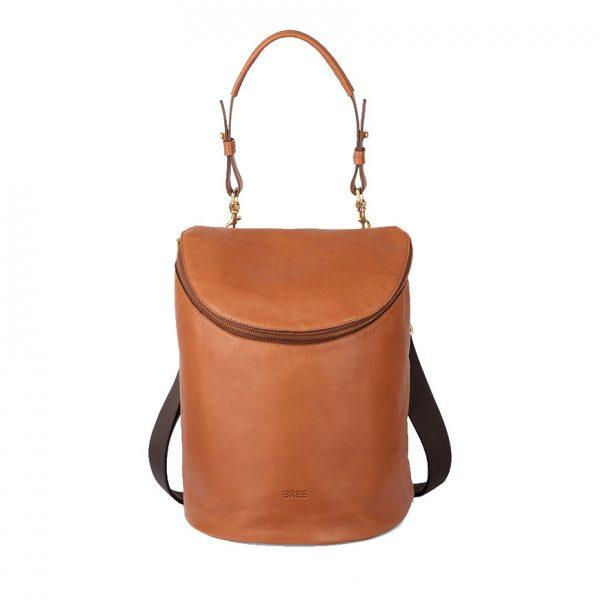 BREE Stockholm 40 whisky leather backpack and shoulder bag δέρμα τσάντα ώμου και σακίδιο πλάτης καφέ ταμπά 2019