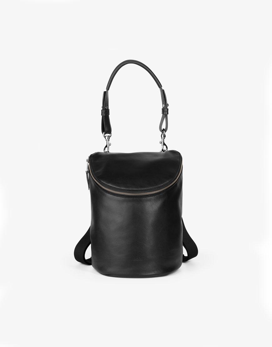 BREE Stockholm 49 black leather backpack and shoulder bag δέρμα τσάντα σακίδιο πλάτης και ώμου μαύρο 1970
